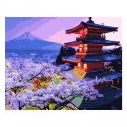 Pintura digital  al óleo Ático bajo el Monte Fuji