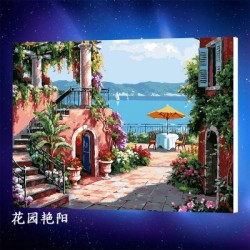 Pintura digital al óleo Sol - Jardin