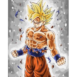 Pintura digital al óleo Dragon Ball-Super Saiyaiyin