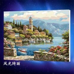 Pintura digital  al óleo-Hermoso paisaje