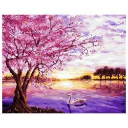 Pintura digital  al óleo-Lago de los Cisnes