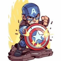 Pintura digital  al óleo - KIDS  Avengers-Captain America
