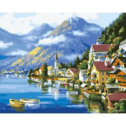Pintura oleo- lagos y montañas